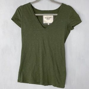 Abercrombie & Fitch Green V Neck T shirt